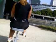 Big ass outdoor Gym see through leggin