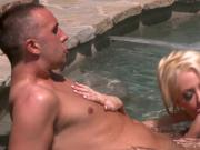 Poolside fuck is taken inside