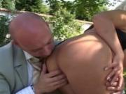 French blonde milf with big boobs fuck in garden