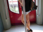 Blonde Wearing Tight Sexy Shorts 1 - Walk On Train