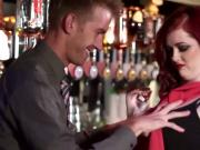 Redhead slut banged in the bar