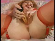 Sexy Strawberry Blonde Masturbates With Toy