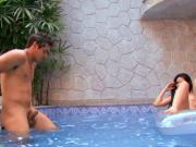 Hispanic slut getting banged by the pool