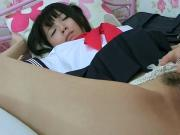 uncensored asian schoolgirl facesitting and playing
