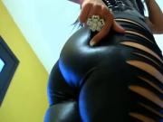 !!!!! BEST Thick SEXY ASS in leather wet leggings FEMDOM