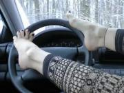 Pretty Fetish Feet Tease in the carWheelSex