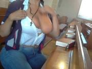 busty girl masturbates in church