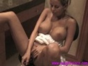 Melon boobed Nicole Graves stuffing a hard toy in fer juicy twat