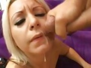 College cutie Barbie Addison savors the warm cum dripping from face