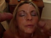 Lovely babe Sindy Lang gets her face all glazed with creamy cock burst