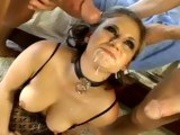 Titty babe Alex Devine makes her mouth dribble with milky cock juice