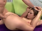 Slim hottie Amber Rayne curls her legs up to get perfectly banged on her twat