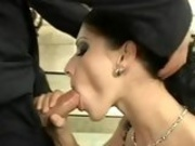 Sensual hot whore Nikki Rider munches a lucky man's cock with all pleasure