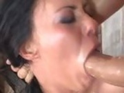 Horny hot Valentina Velasques chokes herself with a thick cock
