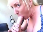 Bitchy blonde Calli Cox fills her mouth with a juicy white cock