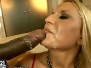 Lovely chick Myra Lyon gets her mouth glazed with pure cum after a hot fuck