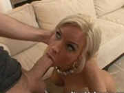 Busty blond Diamond Foxxx gets her pussy eaten and sucking a massive hard stick
