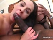 Bitchy Poppy Morgan licks of a huge black cock clean from cum