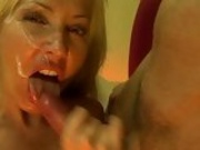 Bitchy whore Lisa Lee receives a slimey load of cock cream after a horny fuck