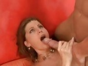 Sky Rodgers swallows salty load of cream from hard cock