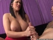 Giant titted Carmella Bing gives a lucky guys hardon a nice handjob