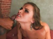 Cum thirsting hottie Tori Black gets a spray of goo exploding on her mouth