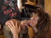 Slutty hot milf Deauxma deliciously feeds herself with a cock until she chokes