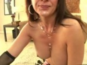 Filthy Raquel Devine makes her mouth dribble with cock sauce after a good blow