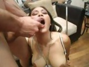 Titty hot Jessica Bangkok opens her mouth for her favorite doze of cock fluid