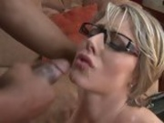 Lovely whore Velicity Von receives a juicy spray of cock sauce on her mouth
