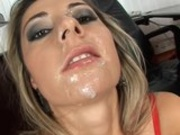 Hot babe Daria Glower receives a slimey cumshot on her lovely face