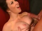 Sultry milf Rayveness gets jizzed on her boobies after a hot wild fuck