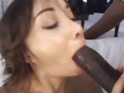 Holly asian whore Katsumi feeds her juicy mouth with her boyfriend's blackzilla