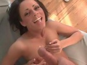 Bubbly slim babe Isabella Dior feels glad to get sprayed with jizz on her face