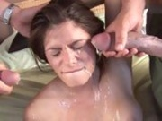 Beautiful babe Madelyn Marie gets an awesome splash of cum on her face