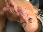 cock lover Michelle Lay receives a warm ooze of cock sauce on her mouth