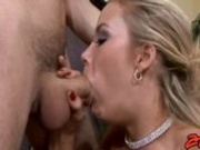 Deliciously hot babe Sophia Lynn swallows a huge beaver deep in her throat