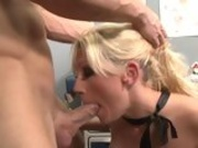 Office whore Tanya James feeds her filthy mouth with a juicy hard cock