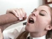 teeanage slut Scarlett Fay receives a slimey load of cock sauce after a hot fuck