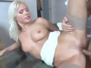 Sexy whore Kathy Anderson getting plowed by a huge cock on the twat