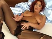 Horny hot nymph Ashley Robbins cant wait to play dirty with herself alone in bed