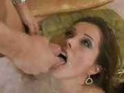 Lovely hot Francesca Le getting jizzed on her mouth after a screwing one on one