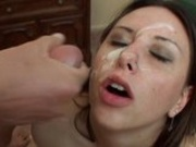 Brunette cock lover Ashley Jorden receives explosion of jizz on the face