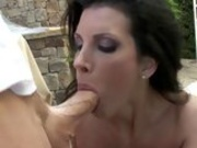 Matured whore Shay Sights eagerly takes a young cock in and out her filthy mouth