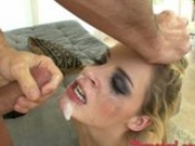 Nasty blonde Ally Ann receives a messy spurt of cock sauce on her mouth