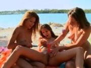 Pornstars Celeste and Charmane getting hot with a lesbian girlfriend outdoor