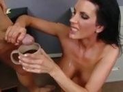 cum thirsty honey Shay Sights filling her mug with some cum to be drank