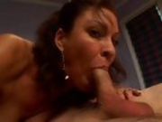 Luysty hot momma Vanessa Videl fills her warm mouth with an awesomely huge cock