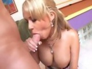 Busty chick Carly Parker enjoys a fat shaft soaking in her warm mouth
