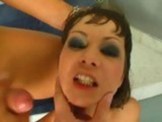 Adorable hottie Angelina Crow gets a warm flush of jizz splashed on her face